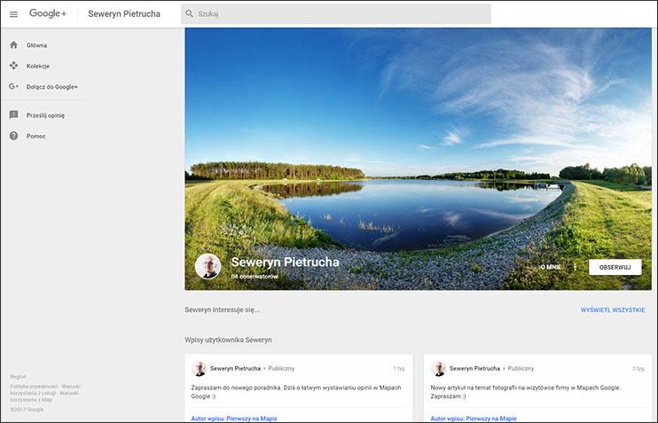 Profil Google+ osoby - zrzut ekranowy