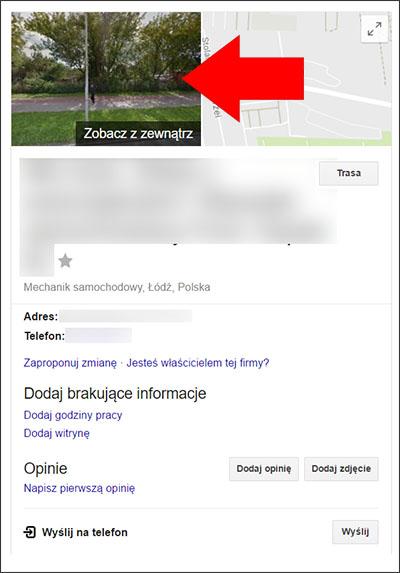 Miniatura Street View na wizytówce Google