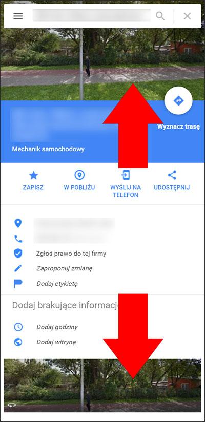 Widok Street View na wizytówce firmy w Mapach Google