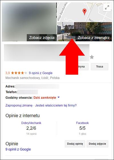 Miniatura Street View w wyszukiwarce  Google