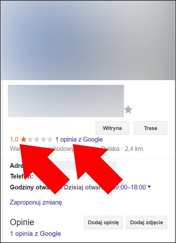 Ocena na 1 gwizadkę - wizytówka Google