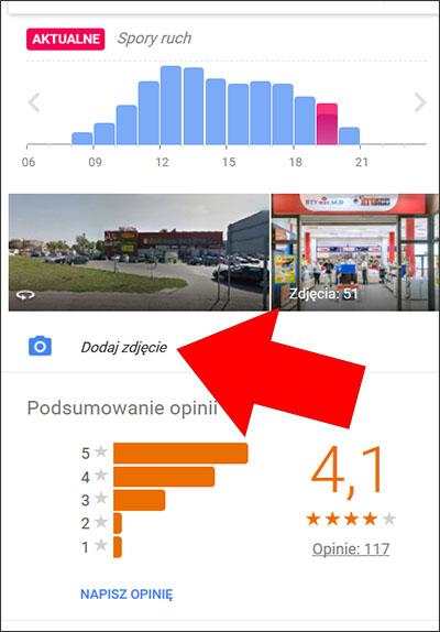 """Przycisk """"Dodaj zdjęcie"""" - wizytówka Google"""