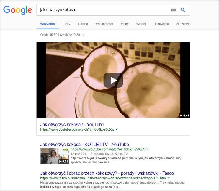 Film w wyszukiwarce Google
