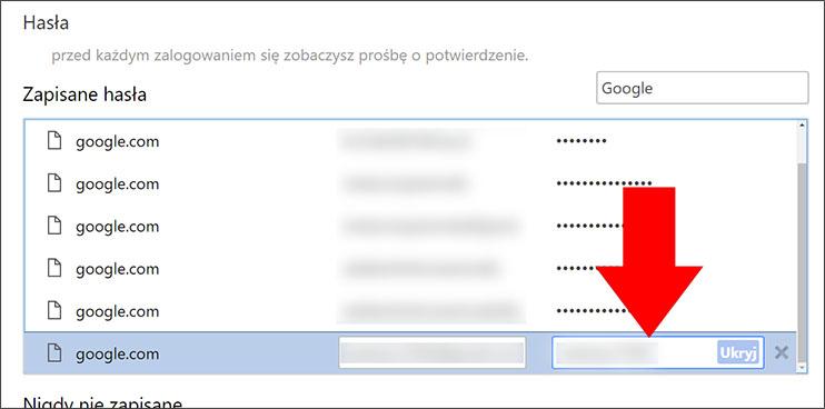 Zapisane hasło Google Chrome