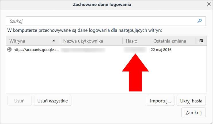 Wyświetlone hasło Firefox