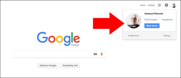 Konto Google - Status zalogowania