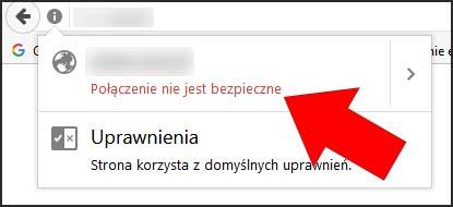 Niebezpieczne połączenie ze stroną www