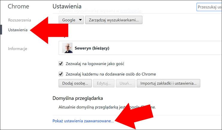 Ustaweinia zaawansowane Google Chrome