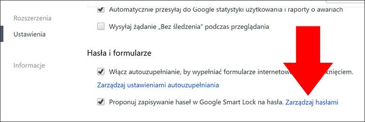 Zarządzaj hasłami Google Chrome