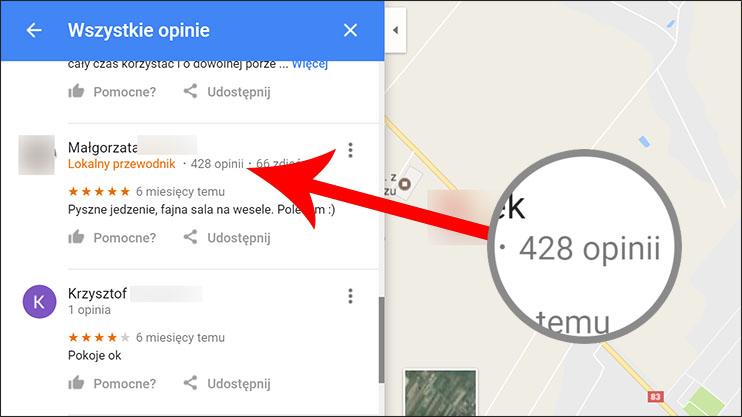 Liczba opinii użytkownika w Mapach Google