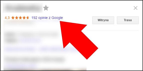 Referencje na wizytókce firmy w Mapach Google