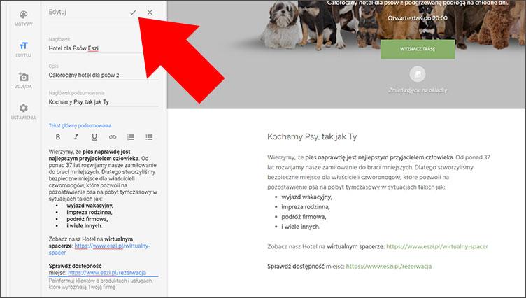 Edycja tekstu na stronie www Google Moja Firma