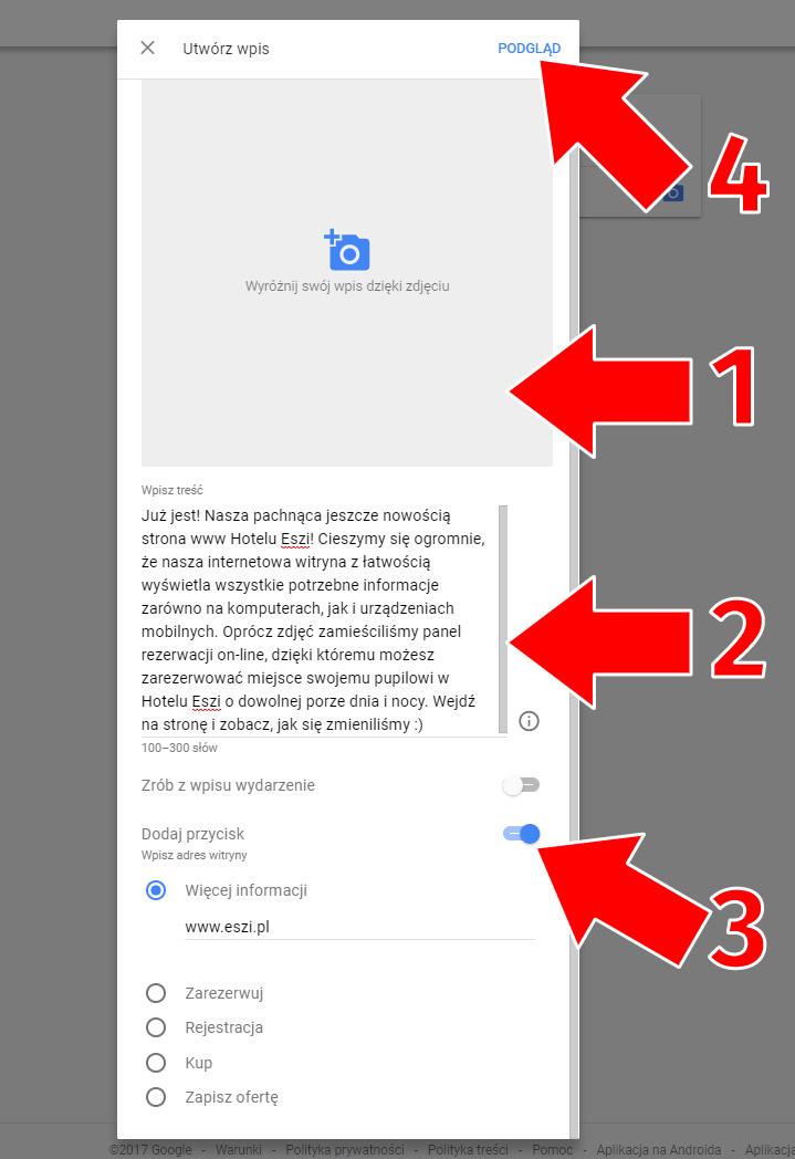 Stwórz wpis Google
