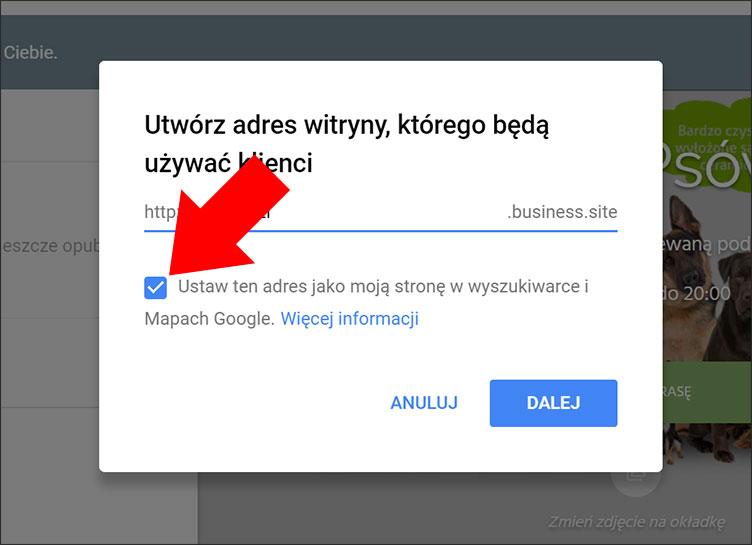Adres witryny internetowej Google Moja Firma