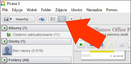 Widok folderów w Picasa 3