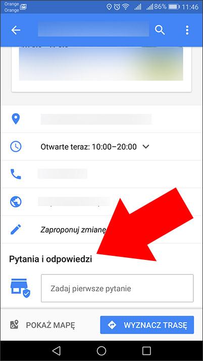 Pytania i odpowiedzi - nowa funkcja na wizytówce Google