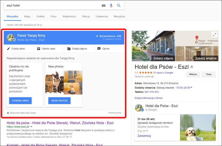 Panel lokalnej firmy w Google
