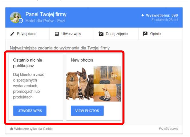 Zadania w panelu firmy w Google