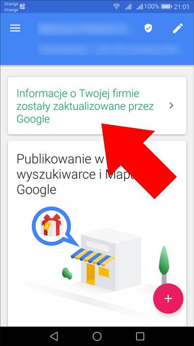 Powiadomienie w aplikacji mobilnej Google Moja Firma