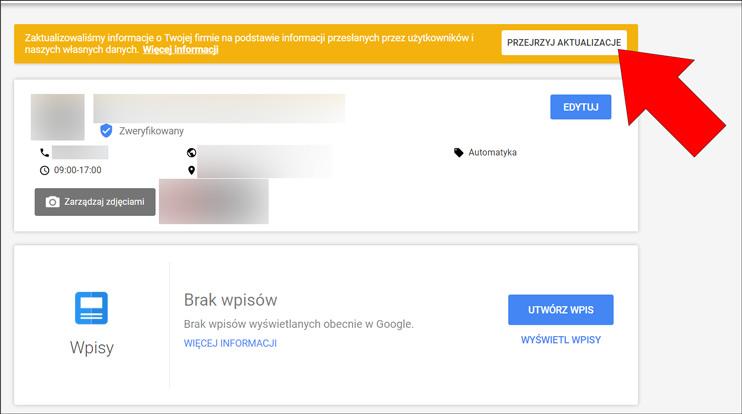 Przejrzyj aktualizacje - Wizytówka Google