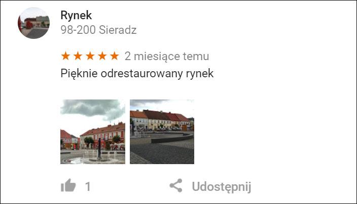 Referencje na wizytówce firmy w Mapach Google