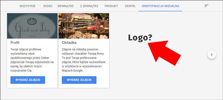 Logotyp w panelu Google Moja Firma