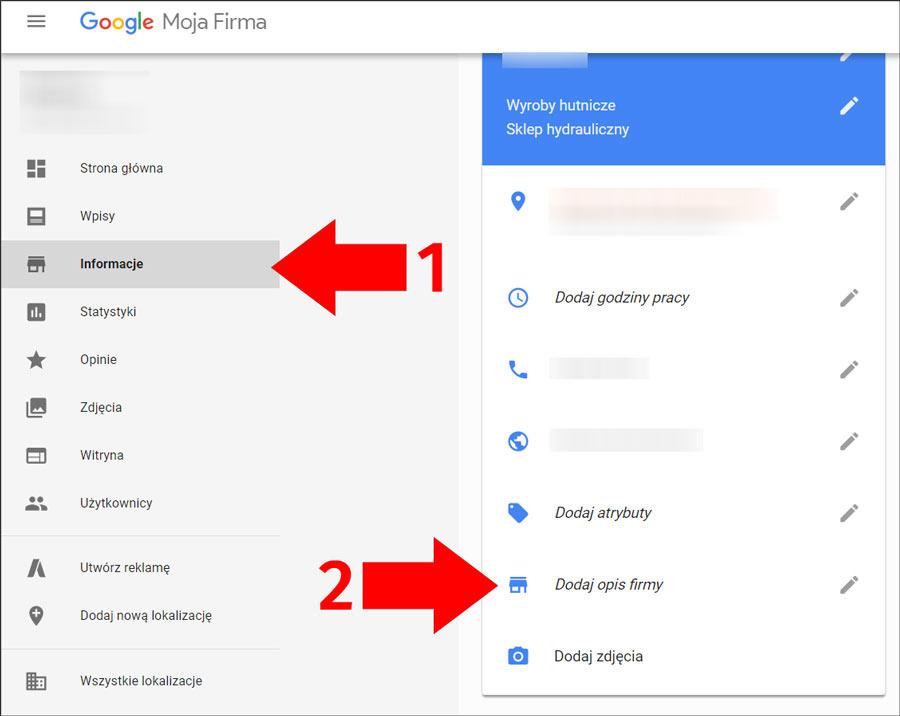 Zamieszczanie opisu firmy w panelu Google Moja Firma