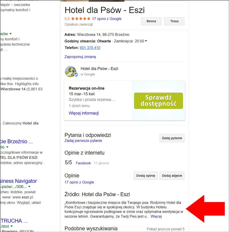 Opis firmy w wyszukiwarce Google
