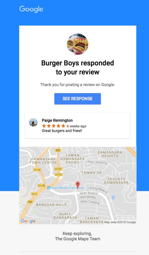 Zrzut ekranowy wiadomości e-mail z odpowiedzią na recenzję Google