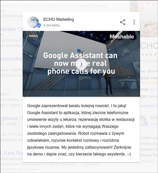 Zrzut ekranowy wpisu wideo na wizytówce firmy