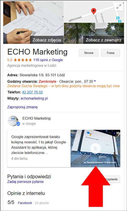 Zrzut ekranowy wpis wideo na wizytówce firmy w Google