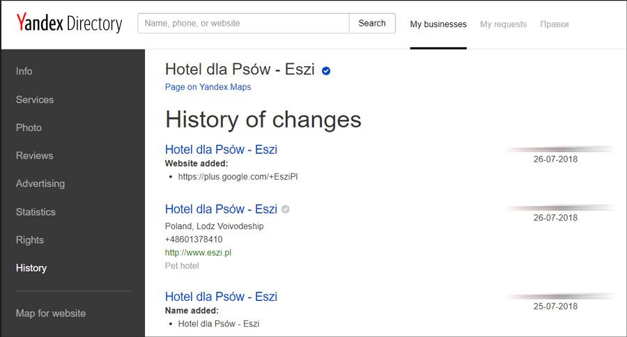 Panel wizytówki Yandex - historia zmian