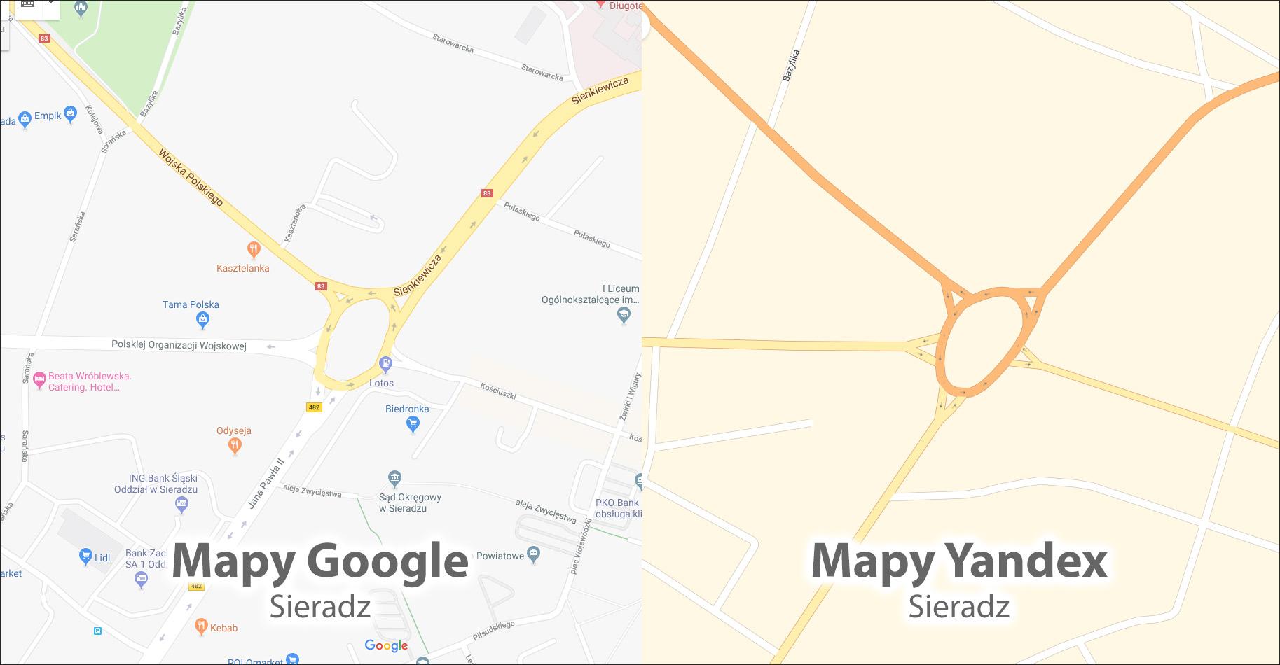 Mapy Yandex w Polsce