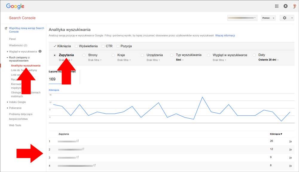 Analityka zapytań w Google Search Console