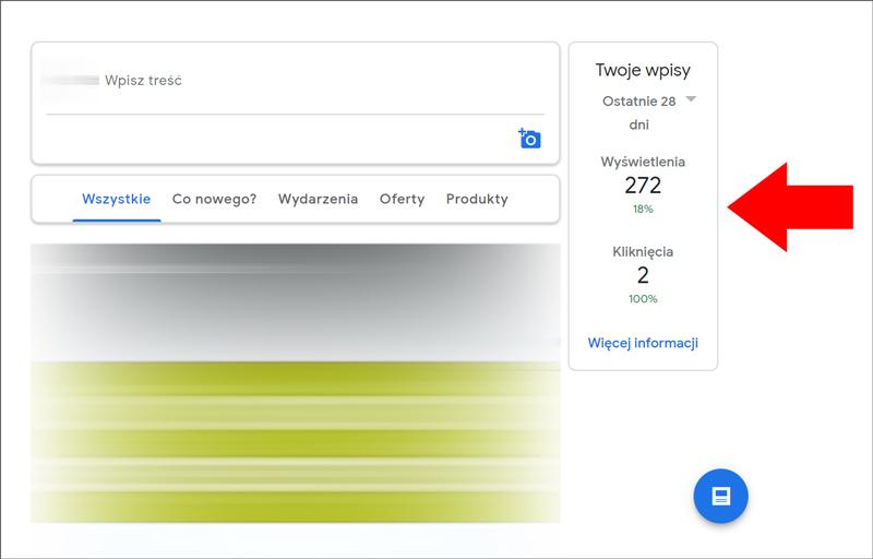 Podsumowanie statystyk dla wpisów na wizytówce Google