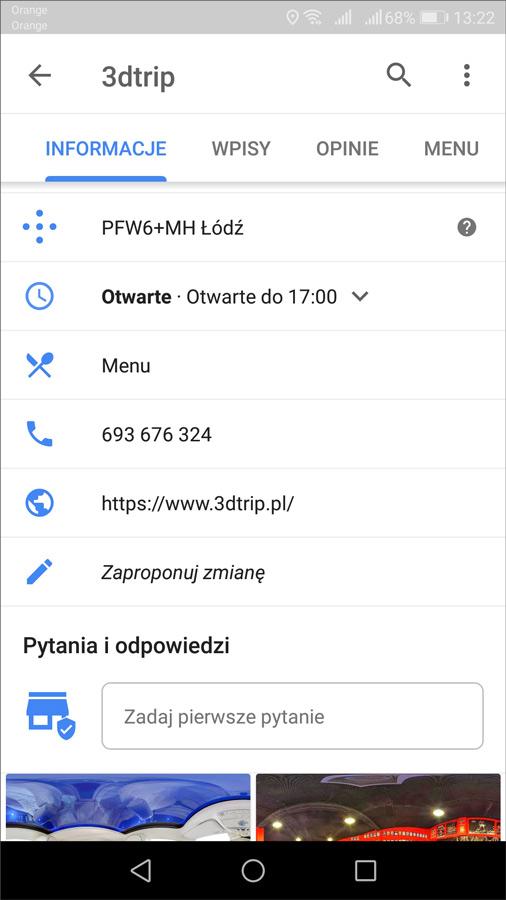 Wizytówka firmy w aplikacji Google Maps