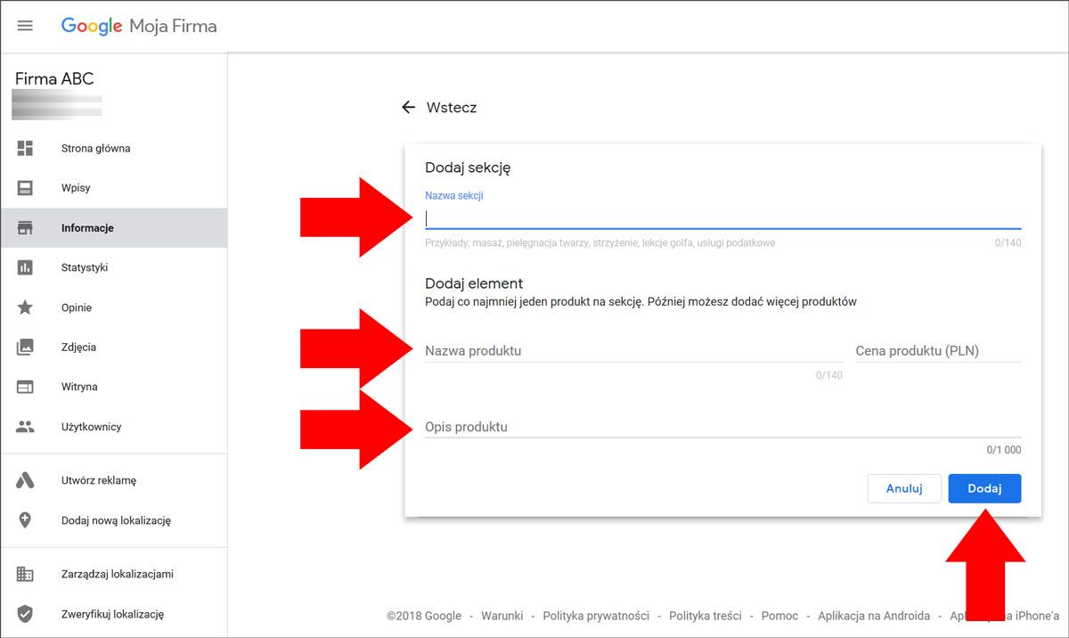 Dodaj ofertę swojej firmy na wizytówce Google