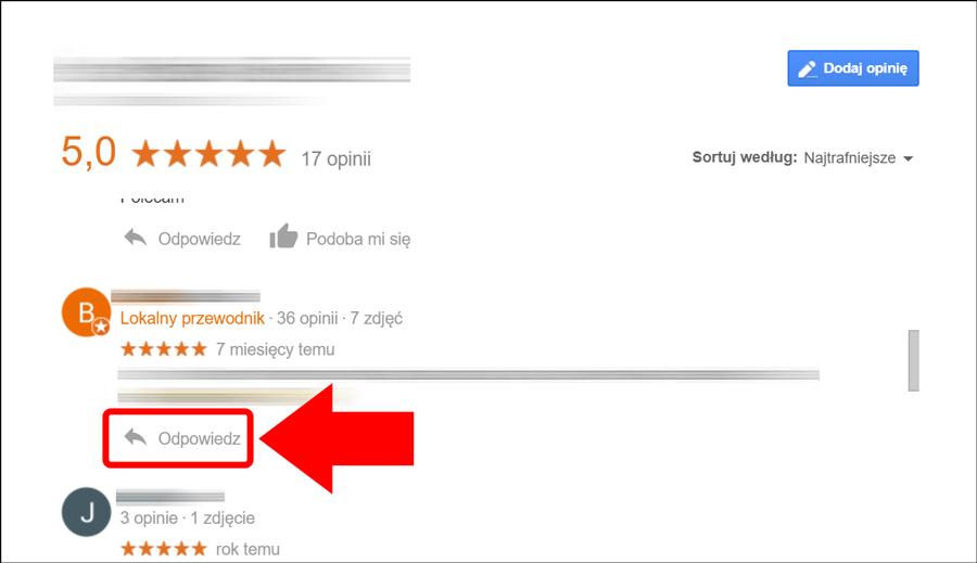 Odpowiedzi na opinie Google w wyszukiwarce - zrzut ekranowy