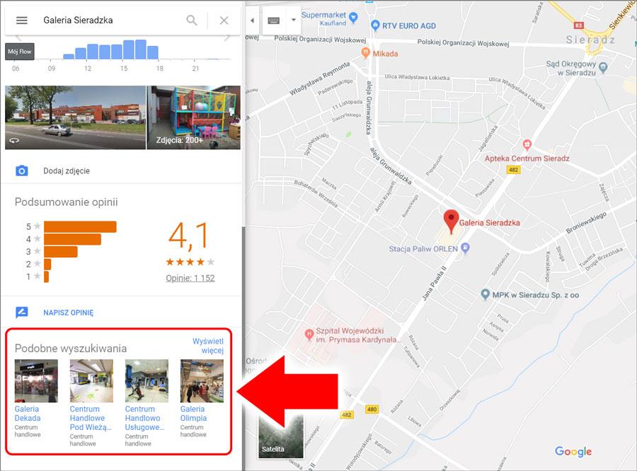 Podobne wyszukiwania w Google Maps