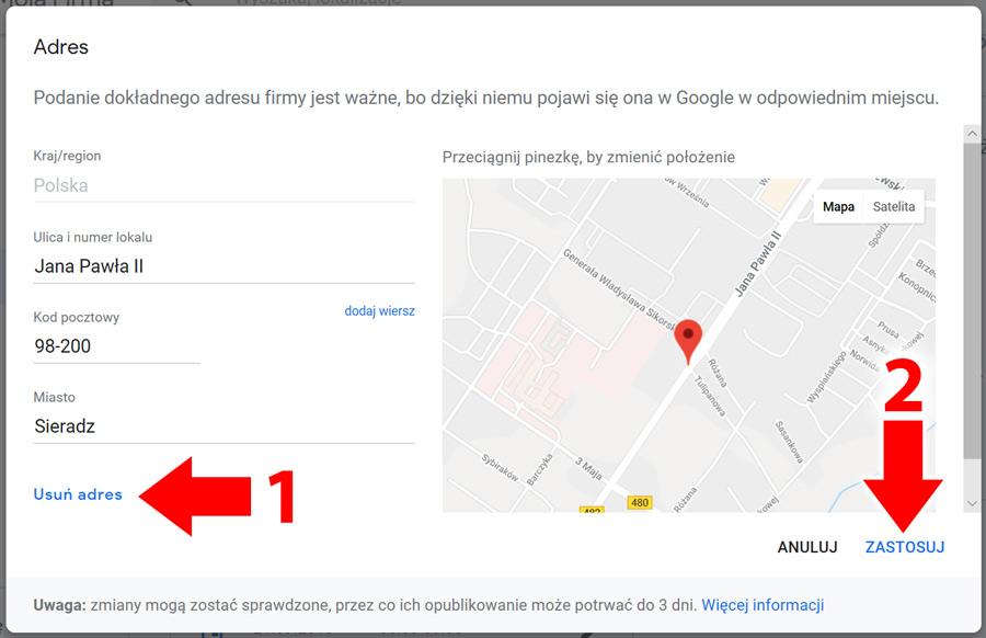 Adres w panelu Google Moja Firma