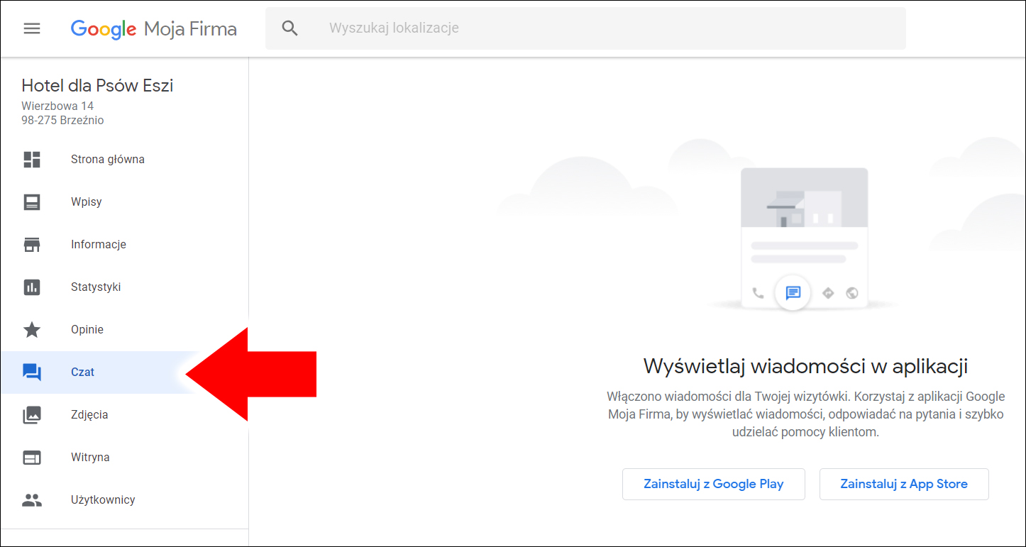 Czat - panel Google Moja Firma