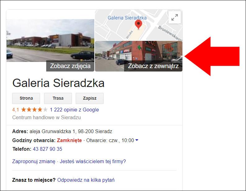 Wizytówka Google miniatura Street View