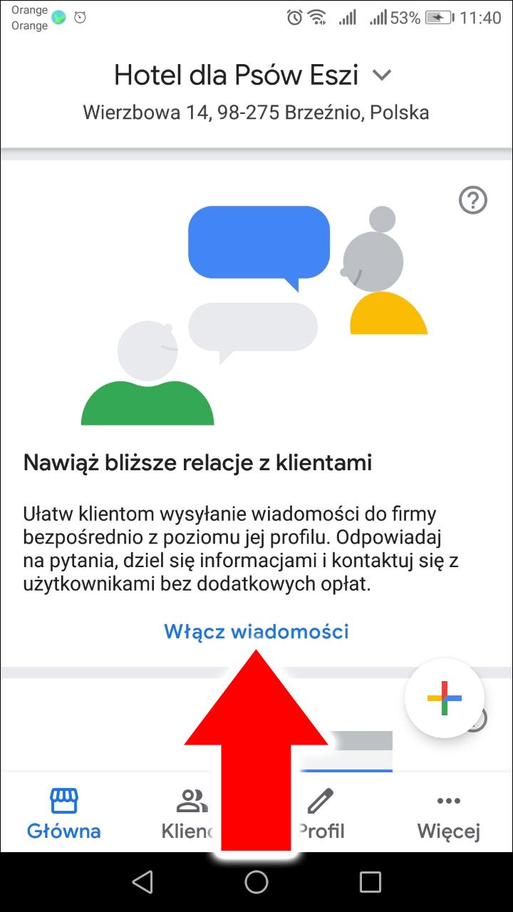 Włącz wiadomości na wizytówce Google