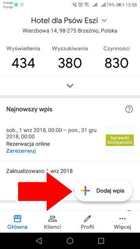 Dodawanie wpisów w wizytówce Google