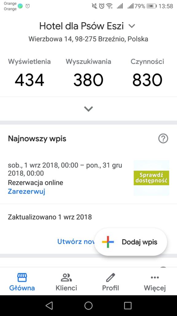 Przejście do zakładki Statystyki w wizytówce Google