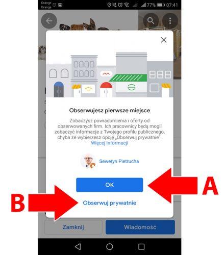 Potwierdź obserwowanie firmy na Mapach Google