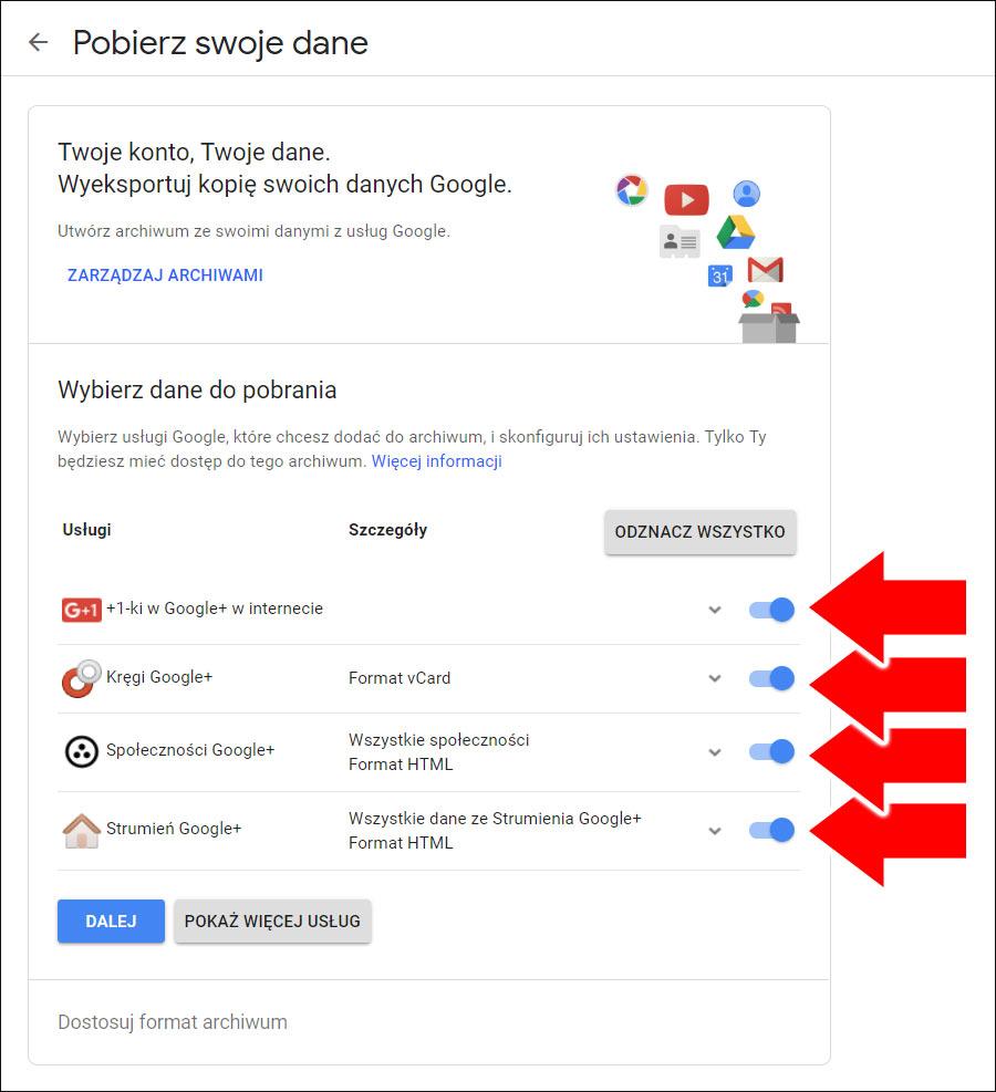 Pobieranie danych z Google + - wybór usługi archiwizacji