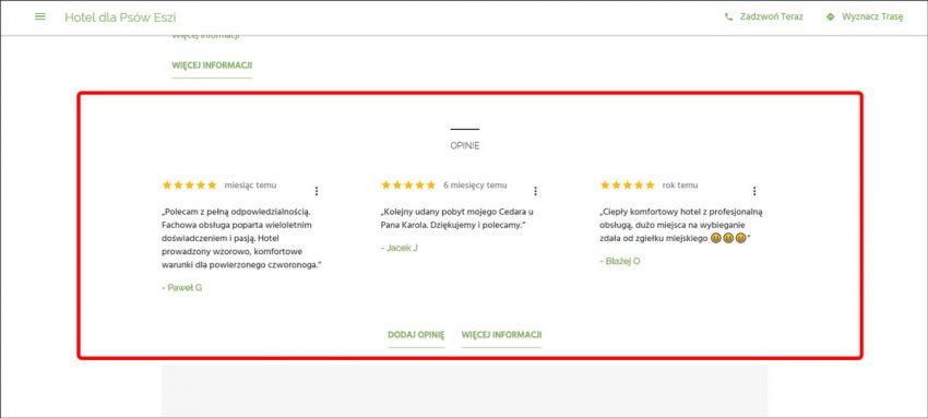 Opinie z wizytówki Google na stronie internetowej z Google Moja Firma