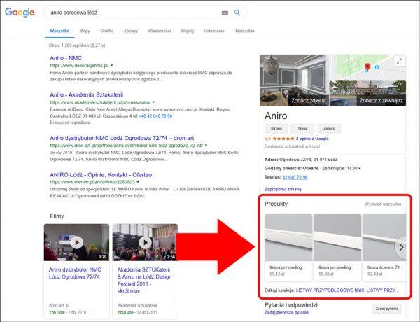 Produkty na wizytówkach Google na komputerach