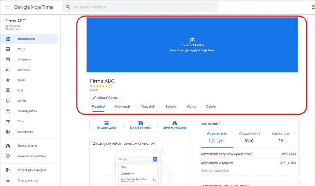 Wizytówka Google - nowy wygląd panelu Moja Firma